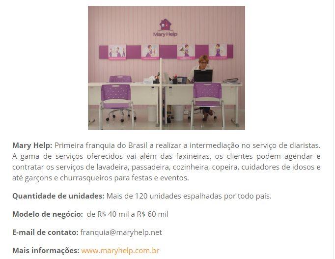 Foto de parte da matéria que menciona a Mary Help, no Franquia & Companhia. São mencionados a quantidade de unidades (mais de 120), e o investimento inicial de 40 mil reais