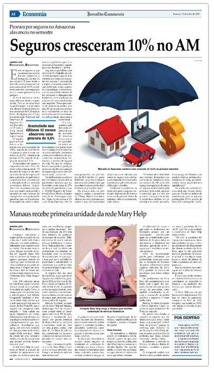 Matéria mencionando a inauguração da Mary Help publicada no Jornal do Commercio de Manaus